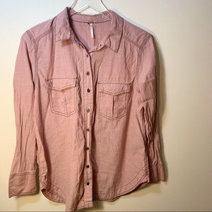 Free People | Button Down Top Blush Pink | Small